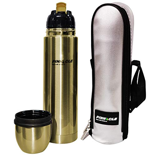 Pinnacle Palladium 1000 ml Vacuum Flask (SS304) with Flip Lid; Stainless Steel Thermos with Matt Gold Lacquer (Leak Proof & 24 Hours Hot/Cold Insulation)