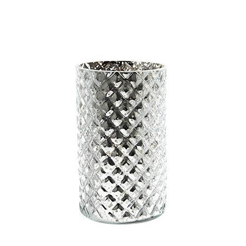 Sandra Rich Zylinderglas, Windlicht, Kerzenglas, Vase, Glas Diamond Silber verspiegelt. 18 cm.
