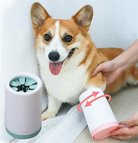 Kwispel - cepillo para polvo portátil para limpiar huellas de perro y gato, de silicona suave, para perro y gato, Verde, L