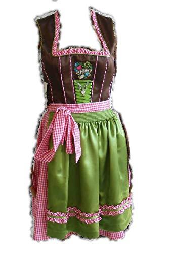 Country-Line Kurzes Dirndl braun grün pink mit Stickerei Gr. 32 NEU!(32,ST4 1537H)