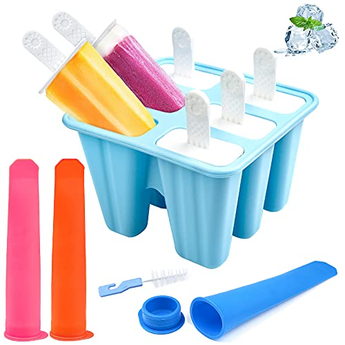 Silikon Eisformen Set,Set mit 6 Eislutscher-Formen BPA-frei + 3 Eis-Eis am Stiel-Formen mit Deckel,Wiederverwendbare Eisformen für Kinder Erwachsene mit Reinigungsbürste Blau