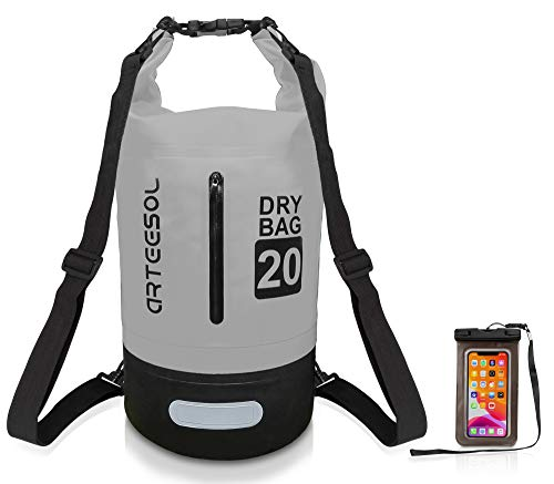 arteesol Waterproof Dry Bag, 5L/10L/20L/30L Dry Bags for Boating Kayaking Swimming with Adjustable Shoulder Strap for Camping Snorkeling Beach Hiking Water Sports (Grey+Black, 10L)