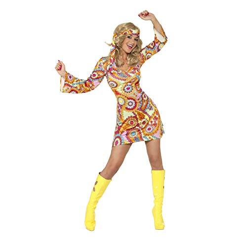 Smiffy's (34060M) - Hippie 196060er Jahre Kostüm für Damen , Größe M (40-42)