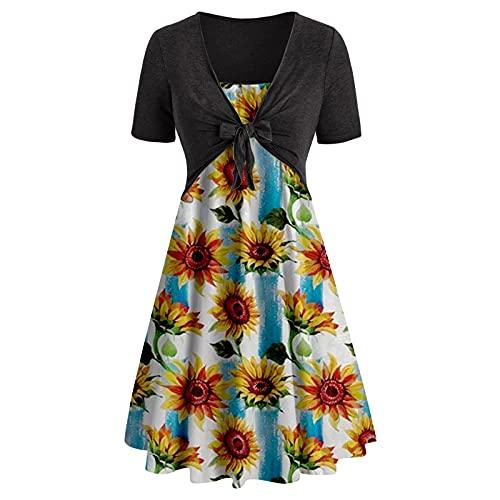 TTivxe Vestido de mujer con correa de bufanda y tubo, diseño floral, vestido de fiesta, elegante, vestido de verano de los años 50, vestido de cóctel Negro S