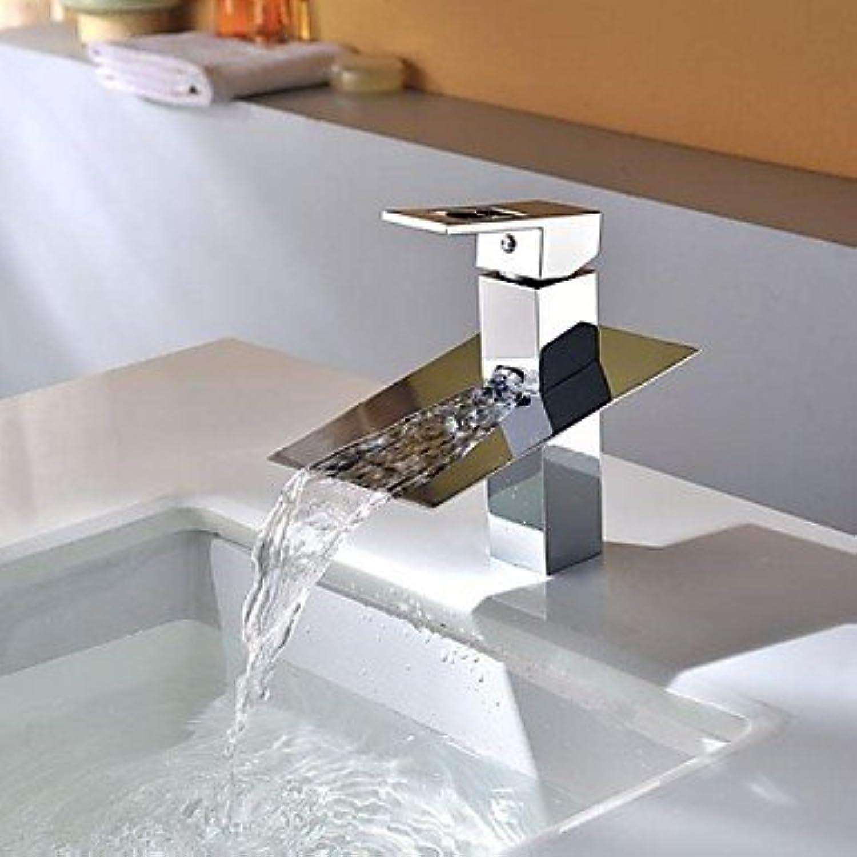 BiuTeFang Basin Tap Waterfall Brass Chrome Bathroom Faucet Basin Mixer Tap
