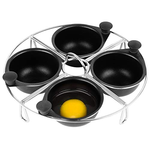 Modern Innovations Stainless Steel 4-Cup Egg Poacher Tray - Complimentary Silicone Mitt - Egg Poacher Insert for Poaching Eggs & Eggs Benedict - Poached Egg Maker Compatible with Most Pans
