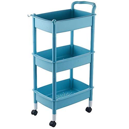 HUANXI 3-Etagen Waschküche Regal mit Rollen,Blau Plastik Organizer Cart mit Ergonomischen Griffen für Stylist Friseur Makeup Beauty Tool Supplies