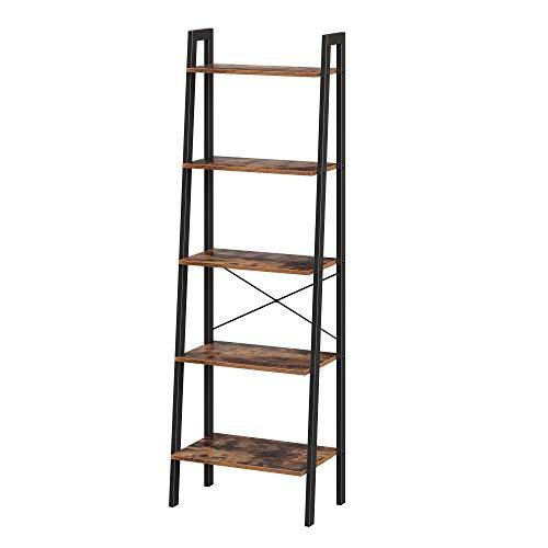 VASAGLE Vintage Standregale, Bücherregal mit 5 Ablagen, mit Metallrahmen, einfache Montage, fürs Wohnzimmer, Schlafzimmer, Küche, 56 x 172 x 34 cm (B x H x T) LLS45X, 5-stöckig