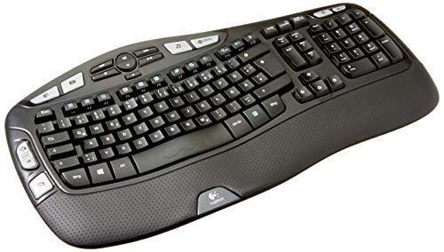 Logitech K350 Ergonomische Kabellose Tastatur, 2.4 GHz Verbindung via USB-Empfänger, 17 Programmierbare Multimedia-Tasten, 3-Jahre Batterielaufzeit, Handballenauflage, Deutsches QWERTZ-Layout