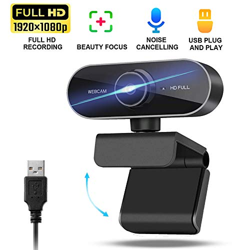 1080p Webcam with Microphone,HD USB Computer PC Web cam Camera with Zoom Autofocus, Plug and Play, for Mac Laptop Desktop, for Live Video Streaming, Conference, Gaming, Online Classes