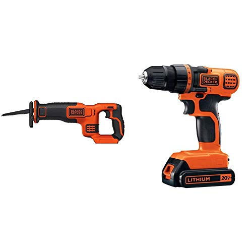 BLACK+DECKER BDCR20B 20V Max Lithium Bare Reciprocating Saw with BLACK+DECKER LDX120C 20V MAX Lithium Ion Drill / Driver