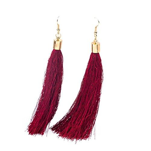 Borla flecos pendientes, Ularma Pendientes Bohemia mujeres larga borla flecos pendientes (Rojo)