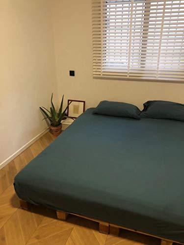 Hoja de Cama Doble ,Sábanas ajustables de algodón de punto de color sólido,el protector de colchón de la casa de familia del hotel del dormitorio es una cama doble individual dark green 150 * 200cm