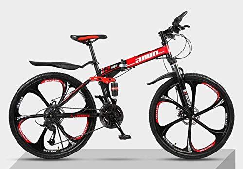 Adult-bcycles BMX Folding Fahrrad Mountainbike 26 Zoll Doppelstoßdämpfende Querfeldein Speed Racing männliche und weibliche Studenten Fahrrad (Color : Sixblackred, Size : 21)