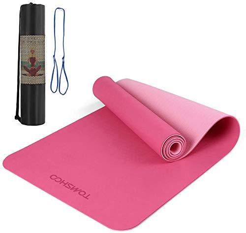 TOMSHOO Esterilla Yoga Antideslizante, Colchoneta Yoga de TPE 8mm, Alfombrilla Yoga Doble Capa y Doble Color con Correa y Bolsa de Transporte para Pilates Ejercicios y Fitness (Rosa)