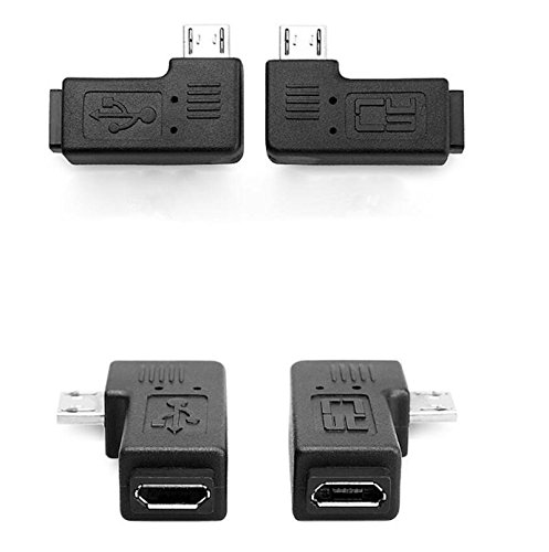 KRS - 8M - 90° Adapter Winkel Stecker von Micro USB auf Micro USB gewinkelt 2 Stück 1x rechts / 1x Links (8M)