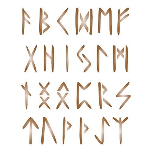 1' Runes Stencil, 4 x 5 inch (S) - Ancient Celtic Norse Nordic Writing Alphabet Stencils for Painting Template