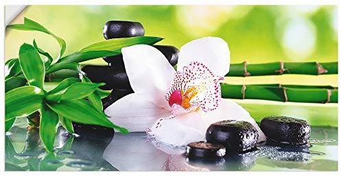 Artland Wandbild selbstklebend Vinylfolie 100x50 cm Wanddeko Wandtattoo Asien Orchideen Bambus Steine Pflanze Zen Wellness T9IQ