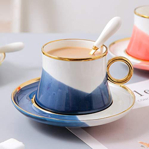 Copa De Vino Taza De Café Tazanordic Creativedichromatic Porcelain Cup With Saucer Spoon Special Ceramic Coffee Tea Cup Mug Plate Uniq