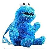 Mochila de peluche de Barrio Sésamo, juguete de peluche suave, dibujos animados, Elmo, Cookie Monster grande, con relleno de pájaro, adecuada para niños y niñas, 50 cm, azul (Azul) - ZXXL-EPZBMP