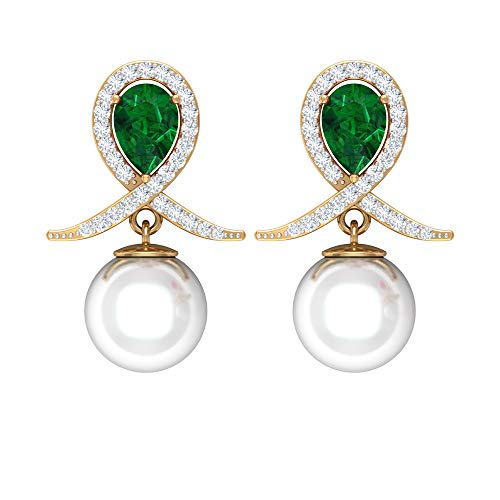 Pendientes de gota de perlas de agua dulce de 8 mm, aretes de diamante de halo, aretes de esmeralda, aretes colgantes de gota con rosca trasera verde