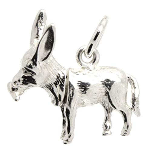 Silver Donkey Charm - with Carrier Bead