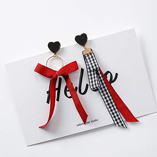 LLDEH Corazón Pendientes para Las Mujeres Enrejado Cinta Bowknot Gota Larga Pendientes...
