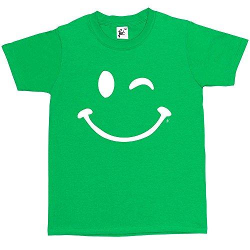 Fancy A Snuggle Retro Happy Funny Winking Emoticon Face Kids BoysGirls T Shirt Green 9 11 Year Old