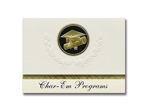 Signature Announcements Char-Em Programme (Charlevoix, MI) Abschluss-Ankündigung, Presidential Style, Elite Paket mit 25 Kappen und Diplom-Siegel.