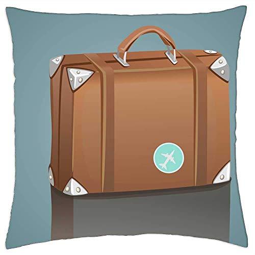 Funda de almohada, maleta, maleta, bolsa de viaje, maleta, fundas de cojín personalizadas para decoración de interiores al aire libre, 45 x 45 cm