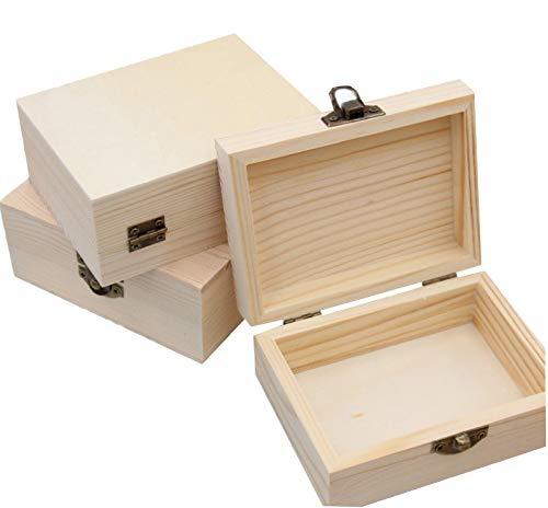 3 Cajas De Madera Sin Terminar, Cajas De Madera Creativas, Cajas Decorativas Creativas, Cajas De Madera Con Cerraduras, Que Pueden Proteger Mejor Los Artículos, Adecuadas Para Decoración, Relojes