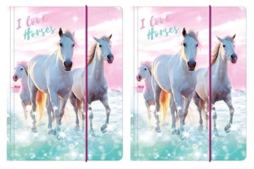 Theonoi 2 carpetas brillantes con diseño de caballos dulces, carpeta para archivar y guardar documentos con goma elástica, DIN A4, para niños, para archivar y colocar (caballo 4)