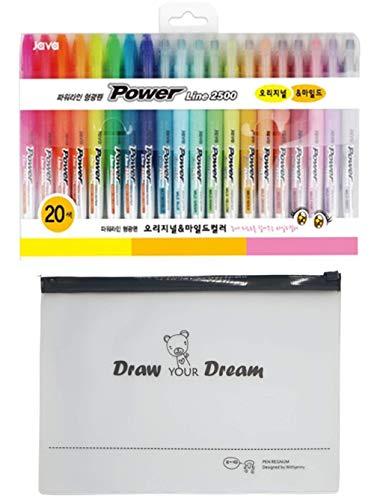JAVAPEN rainbow pastel Power Line Highlighter Chisel Tip Brush Pens 20 Assorted Colors Set, (12 Mild colors & 8 Original colors) with Pen Regnum Pouch