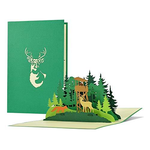 Geburtstagskarte für Jäger, Förster mit Pop up 3D Wald, Hirsch, Fuchs | Gutschein, Einladung zur Jagd | Geschenke für Männer zur Jagdprüfung, Jagdschein, H31