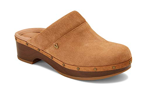 Vionic Women's Day Kacie Clog - Ladies Slip-on Mule with Concealed Orthotic Arch Support Toffee Suede 7 M US