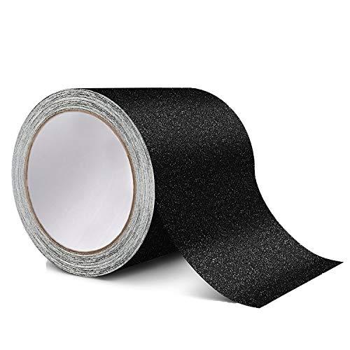 Cinta antideslizante de alta tracción, color negro, fuerte adhesivo de seguridad para escaleras, peldaños, exterior e interior, negro