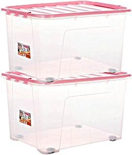 Boîte de Rangement avec Couvercle, Grande boîte de Rangement Portable à Deux conteneurs en Plastique Transparent empilable...