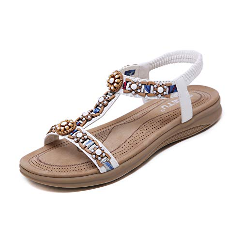 Sandały damskie letnie buty wygodne płaskie sandały rozm. 36-42, biały - biały - 39 eu
