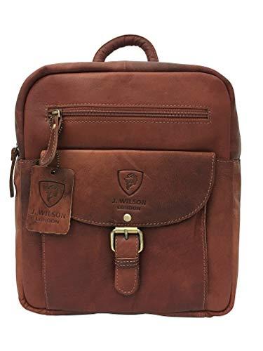 Ladies Backpack J Wilson London Leather Backpack for Women Girls Schoolbag Casual Daypack School Bag Satchel (Distressed Brown)