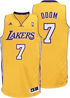 Adidas Bright yellow, purple and white Lamar Odom LA Lakers NBA Jersey