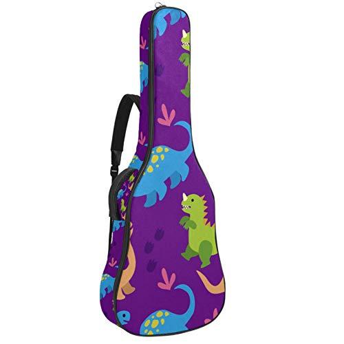 Bennigiry Bolsa de guitarra acústica para guitarrista, color verde, azul, naranja, diseño de dinosaurio, color morado