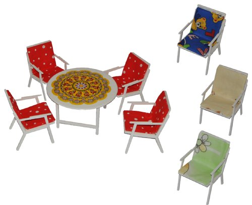 alles-meine.de GmbH 1 Set: Gartenmöbel mit 4 Stühle und Tisch + 4 Stuhlauflagen - Kunststoff - Möbel Set z.B. für Puppenstube Puppenhaus Puppenhausmöbel