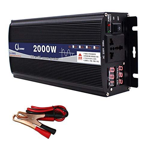 XBNBQ Inversor de Onda sinusoidal Pura de 3000W DC 12V / 24V a AC 220V Inversor de Corriente Inversores de Corriente Continua de Alta eficiencia para teléfonos Inteligentes Tableta12V-2000W