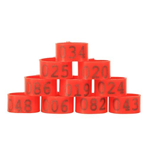 100 Unids 16mm Clip en Anillos de Pierna Número 001-100 para Pollos Patos Gallinas Aves para Palomas Palomas Gallina Loro Aves Identificación(Rojo)