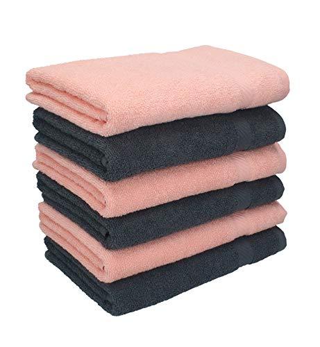 Betz Set di 6 Asciugamani 50 x 100 cm Palermo, 100% Cotone, Colore Albicocca e Grigio Antracite