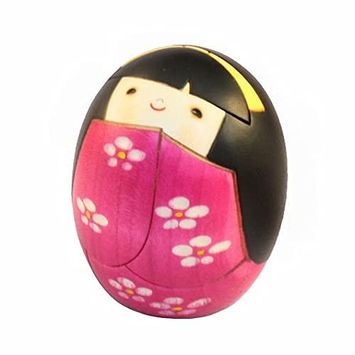 Muñeca Kokeshi japonesa auténtica y tradicional – Diseño Negai – Hecho a mano y hecho en Japón
