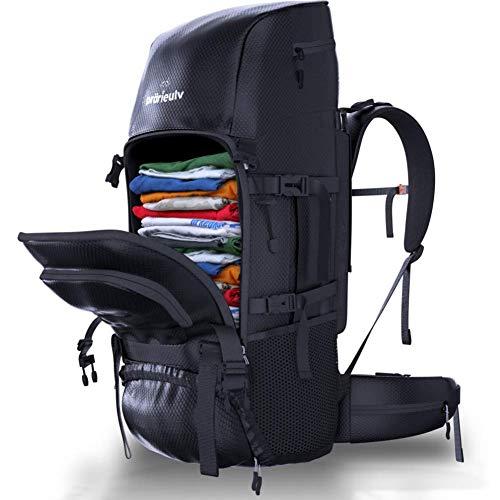 Prärieulv - Juego de mochila de senderismo de 70 L con estructura interior, impermeable, incluye funda para lluvia, pequeña mochila plegable de 20 l, color negro