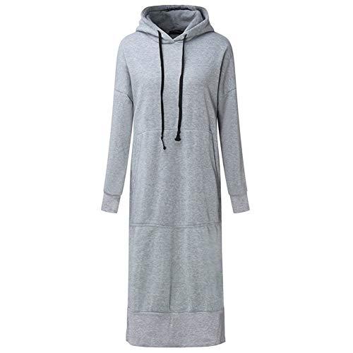 ERLIZHINIAN Jesień długa bluza sukienka 2019 zima kobiety swobodny z kapturem długi rękaw podzielony polar luźny podstawowy sweter na imprezę (kolor: Szary, rozmiar: 4XL)