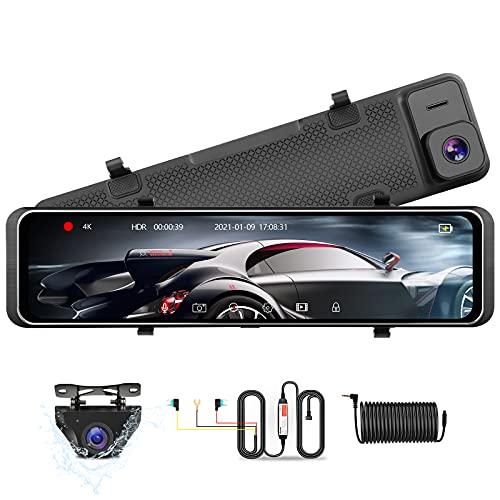 【Aggiornato 4K】12'' Dash Cam Doppia Dash Cam Specchietto Anteriore e Posteriore Dash Cam Per Auto Full Touch Screen Visione Notturna Dash Cam Per Auto con Telecamera Per Auto Impermeabile