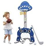 Soporte de Baloncesto para Niños Centro de Actividades Deportivas 5 en 1 Puntaje Fácil Puntaje de Baloncesto Ajustable GOL de Fútbol Juego de Golf Ring Toss Niños Bebé Bebé Niño (Azul Oscuro)